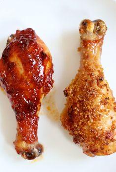 baked chicken two ways: honey ginger garlic  sweet bbq