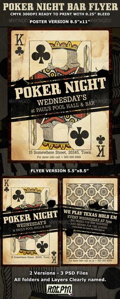 Poker Night Bar Flyer Template is suitable for bar poker night and with some modifications on text you can use it to advertise your poker or casino website! 3 PSD files and with bleed 2 Versions- Poster and Flyer Clearly labeled folders Advertising Flyers, Night Bar, Poker Night, Sports Flyer, Typography Inspiration, Creative Inspiration, Design Inspiration, Good Day Song, Shops