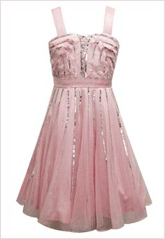 Sara Sara Pretty in Pink Tween Party Dress w/Sequin Streaks