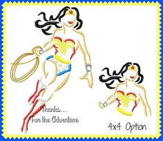 Wonder Woman Sketch Digital Embroidery Machine Design File 4x4 5x7 6x10 by Thanks4TheAdventure on Etsy