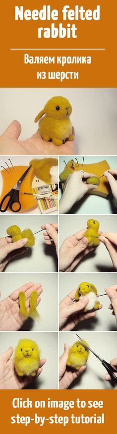 Needle felted bunny, not in English, but brill step by step photo's which so easy to follow. Thumbs up