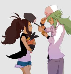 White/Touko & N | And they say girls flirt by taking people's hats... lol!