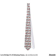 "Love Bridge It's A Relaxing Game (Four Card Suits) Neck Tie #lovebridge #itsarelaxinggame #fourcardsuits #cardsuits #bridgegame #acbl #bridgeplayer #bridgeteacher #bridgeadvice #wordsandunwords Here's a tie featuring the four card suits along with the following sound advice: ""Love Bridge It's A Relaxing Game"".  Great tie gift for any avid bridge player!"