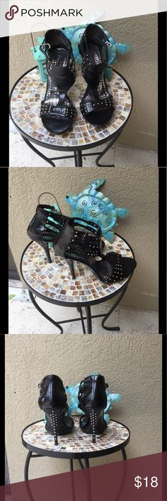 "🆕Michael Antonio black strappy studded heels Michael Antonio black strappy studded heels 👠 Super sexy no studs missing. EUC .5"" platform & 4"" heels one small mar on back see last pic  ✅I ship same or next day ✅Bundle for discount Michael Antonio Shoes Heels"