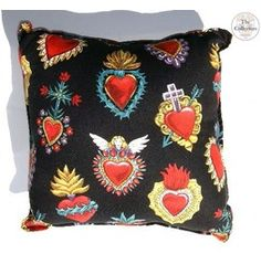 Handmade Corazon Sacred Hearts Rockabilly Pillow
