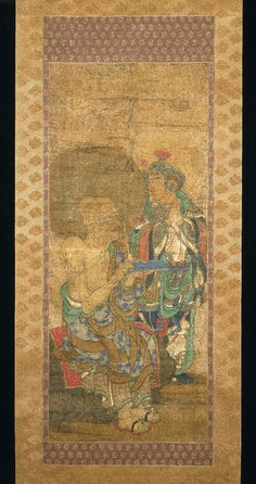 Arhat with Attendant, from a series of 16 Rakan Medium: Hanging scroll; ink, color and kirikane (cut gold leaf) on silk Dates: ca. 1400 Period: Nambokucho Period Dimensions: overall, 68 5/16 x 22 3/8 in. without mount, 37 3/4 x 15 3/4 in.