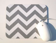 Chevron Mouse Pad / Gray and White / Home Office Decor / Zig Zag / Premier Prints. $9.00, via Etsy.