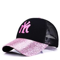 Embroidered Black and Pink Glitter Sequins Brim Baseball Cap Casquette  Baseball 3198d2f7e98d
