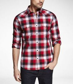 Shop the latest trends in women's and men's clothing at Express! Find your favorite jeans, sweaters, dresses, suits, coats and more. Express Jeans, Men Casual, Plaid, My Style, Mens Tops, Clothes, Tattoos, Shirt, Fashion