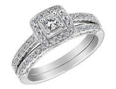 Princess Cut Diamond Engagement Ring & Wedding Band Set 1/2 Carat (ctw) in 14K White Gold