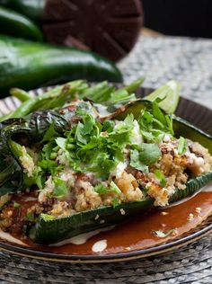 Quinoa-Stuffed Poblanos with Mole Sauce & Green Beans Pepper Recipes, Lime Recipes, Bean Recipes, Mexican Food Recipes, Stuffed Poblanos, Stuffed Poblano Peppers, Mexican Chef, Poblano Chili, Mole Sauce