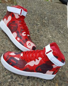 Red Ape camo Hand painted Shoes included 4 ro 6 week turn around time due to high demand U. Cute Nike Shoes, Nike Air Shoes, Nike Shoes Outlet, Air Force One Shoes, Nike Air Force 1, Jordan Shoes Girls, Girls Shoes, Nike Airmax 90, Nike Af1