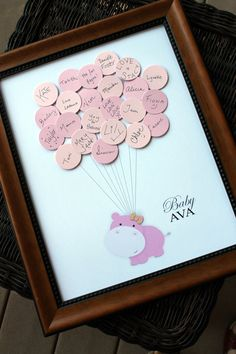 Baby Shower Guestbook - Hippo with Balloons. Maybe change the animal.