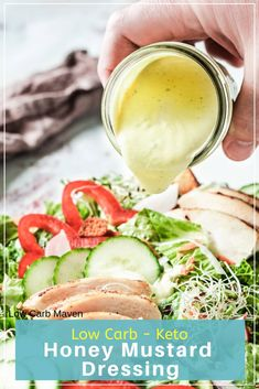 Keto honey mustard is a rich, creamy low carb sauce perfect for dipping or dressing a salad. Whip up this quick and easy sauce in minutes.