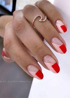 Cute Acrylic Nails, Gel Nails, Nail Polish, Nail Nail, Coffin Nails, Pointy Nails, Gradient Nails, Red Tip Nails, Pastel Nail Art