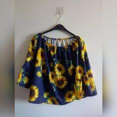 3aa617a05a4d SUNFLOWER FLAIR TOP • Round neck, navy sunflower flair top - Depop Little  Miss,