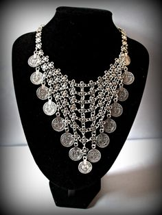 Turkish silver coin necklace boho silver necklace by FabJeweLLerYY