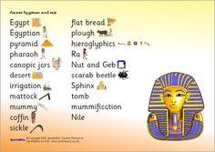 Ancient Egypt word mat (SB4982) - SparkleBox