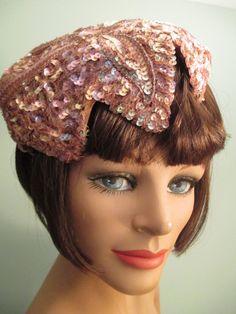 Vintage 1950s Mauve Bronze Beaded Sequined Evening Dinner Cocktail Skull Hat #Eveninghat