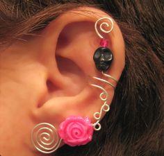 1 Non Pierced Ear Cuff - Skull Rose Halloween, Dia de los Muertos, Samhain Color Choices. $12.00, via Etsy.