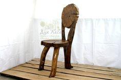 Oak Rustic Dining Chair Live Edge Chair Log Wood by ForestArtShop