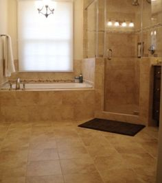 tub and shower side by side | Modern master bathroom with both a shower and a drop-in tub