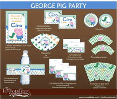 George Pig Printable Party by Tempodifesta on Etsy, €10.00