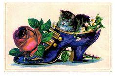 Vintage Clip Art - Ladies Shoe with Cat - The Graphics Fairy