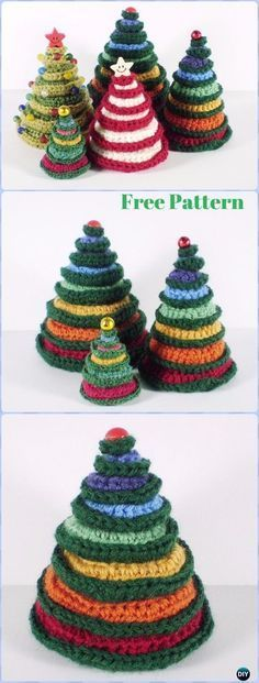Crochet Christmas Tree Free Patterns for Holiday Decoration and Gifts to Family and Friends, crocodile stitch Christmas tree, Granny Square, Circle Applique Crochet Christmas Decorations, Christmas Tree Pattern, Crochet Christmas Ornaments, Christmas Crochet Patterns, Holiday Crochet, Christmas Knitting, Christmas Items, Simple Christmas, Christmas Diy