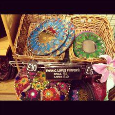 What do you think of our Mosaic Lotus Mirrors? Tree Shop, Norfolk, Mosaics, Lotus, Mirrors, Goodies, Artisan, Shops, Basket