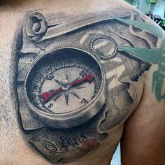 3d World Map Scroll Tattoo For Men On Chest #tattoosformenonchest