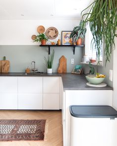 Bohemian white ikea kitchen with plants and vintage second hand rug Boho Kitchen, Living Room Kitchen, Rustic Kitchen, Kitchen Decor, Vintage Kitchen, White Ikea Kitchen, Kitchen Gallery, Kitchen On A Budget, Cuisines Design