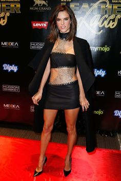 "Pin for Later: The Style Set Takes the Super Bowl Alessandra Ambrosio The supermodel was on theme at the ""Leather & Laces"" megaparty in honor of the Super Bowl."