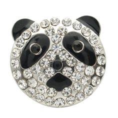 1 PC 18MM Panda Bear Animal Rhinestone Silver Candy Snap Charm kb7131 CC1731