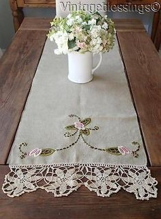 """Victorian Arts Crafts LINEN Antique Runner 55"""" Embroidery Lace"""