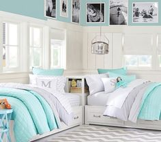 Loving this aqua and grey bedding and room.  Branson Reversible Quilted Bedding | Pottery Barn Kids Guest Bedrooms, Shared Bedrooms, Awesome Bedrooms, Guest Room, Home Bedroom, Girls Bedroom, Bedroom Decor, Bedroom Ideas, 4 Year Old Girl Bedroom
