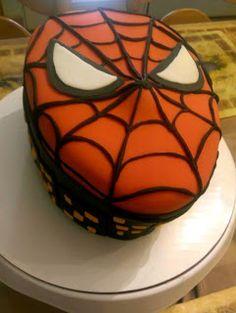 Spiderman fondant birthday cake. Spiderman mask!