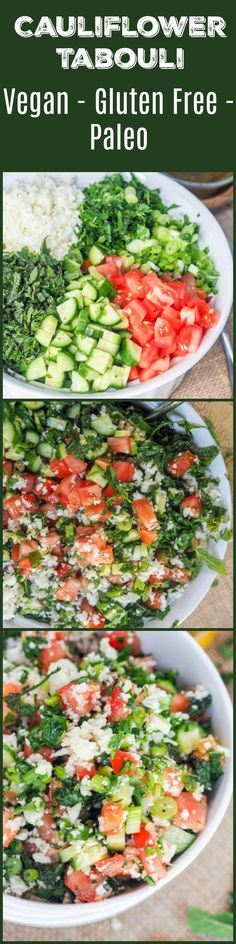 Tabouli that is low carb and gluten-free is bound to be your new favorite light summer salad recipe. Instead of the traditional bulgur, riced cauliflower is used along with tomatoes, cucumbers, mint, parsley, green onions, and walnuts. This dish is just brimming with fresh summer flavors. Vegan & Paleo too! #ShopRite #WholesomePantry #ad