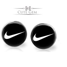 SUPER SALE Nike Swoosh Check Silver Glass Stud Earrings ($9.90) ❤ liked on Polyvore featuring jewelry, earrings, nike, glass earrings, silver earrings, stud earring set and silver jewellery