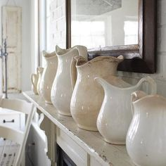 Farmhouse5540 collection of ironstone pitchers