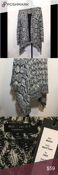 Romeo + Juliet Couture diamond knit cardigan This is brand new with tags!  Awesome blanket Cardigan!  Waterfall style. Diamond and zigzag pattern. Small fringe on front hem. 100% acrylic. Romeo & Juliet Couture Sweaters Cardigans