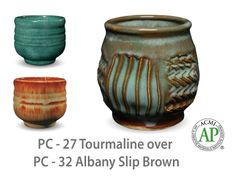 AMACO Potter's Choice layered glazes PC-32 Albany Slip Brown and PC-27 Tourmaline.