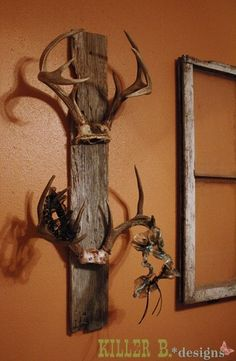 Trophy antlers on old barnwood. Much better way to displays the antlers vs mounting a whole dead deer head on the wall.  Would like to make this for my brother .