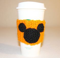 Crochet Cup Cozy  Travel Cup Cozy  Mouse Cozy  by SweetBabyDesi  Tired of walking in to your local coffee shop to have to burn your hands holding a hot cup of coffee? Why not carry your own, washable, cozy with you! Featuring a mouse silhouette, this cozy is the perfect way to bring about smiles as you enjoy your morning pick me up!! These cozies are sized for an average Starbucks or Coffee Bean cup.