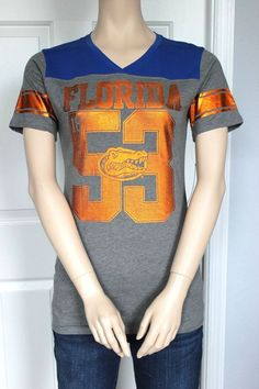 NEW - Licensed University of Florida Gators Women's Metallic V-Neck Tee T-Shirt in Sports Mem, Cards & Fan Shop, Fan Apparel & Souvenirs, College-NCAA   eBay