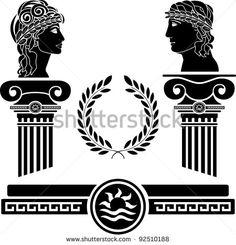 greek columns and human heads. vector illustration - stock vector