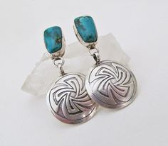Turquoise & Silver Earrings Sterling Silver by DesertEarthJewelry