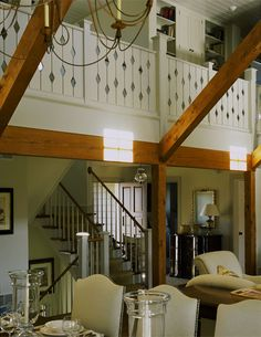 a different look of the stairs and entry. sneak peek at the hall/library upstairs. Interior Balcony, Chalet Interior, Interior And Exterior, Railing Design, Staircase Design, Porch Styles, House Styles, Balcony Railing, Deck Railings