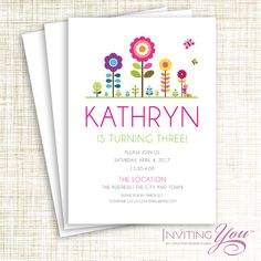 Spring, Butterfly, Flower Birthday Invitation - Digital File OR Printed Cards with Envelopes by invitingyou on Etsy