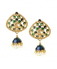 Green and Blue Jhumka Earrings